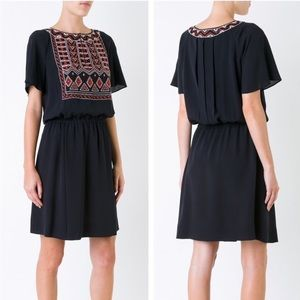 Tory Burch Bristol Black Embroidered Silk Dress